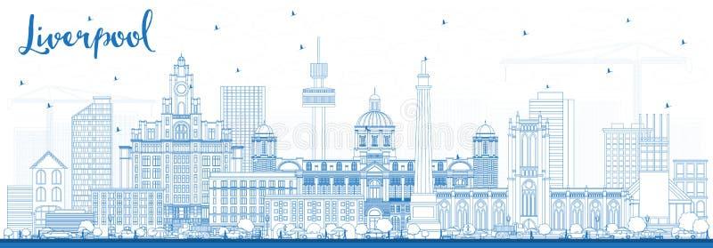 Konturu Liverpool linia horyzontu z Błękitnymi budynkami royalty ilustracja
