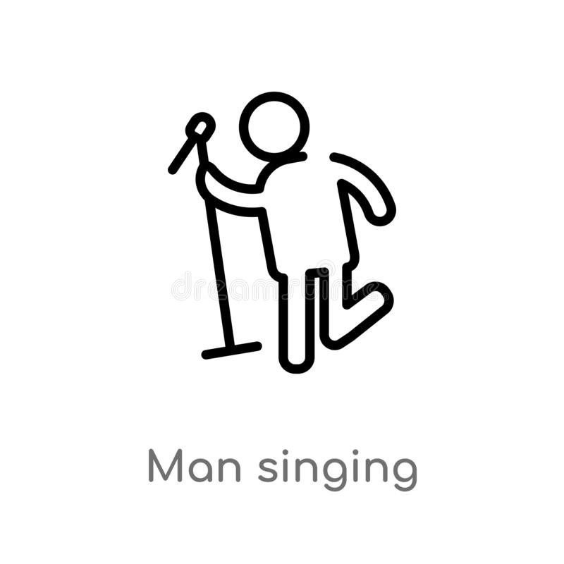 konturu mężczyzny śpiewacka wektorowa ikona odosobniona czarna prosta kreskowego elementu ilustracja od ludzi pojęć editable wekt ilustracji