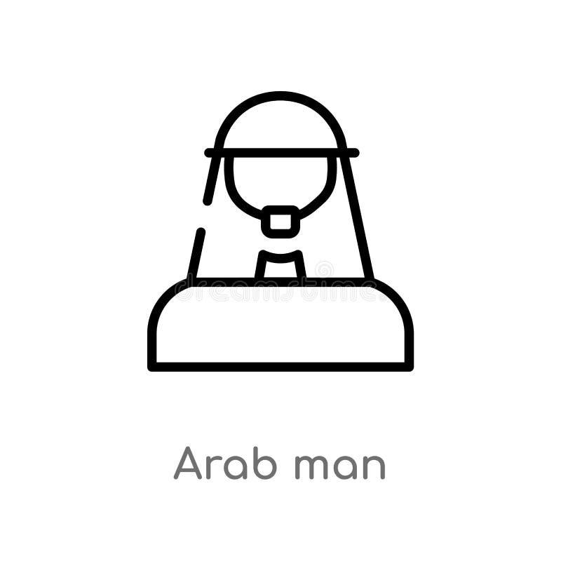 konturu mężczyzny wektoru arabska ikona odosobniona czarna prosta kreskowego elementu ilustracja od użytkownika pojęcia editable  royalty ilustracja