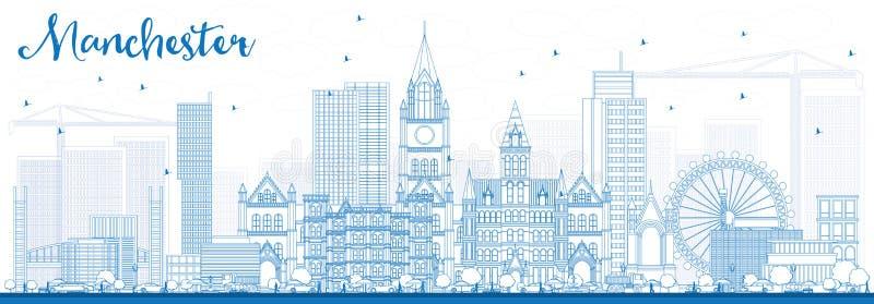 Konturu Machester linia horyzontu z Błękitnymi budynkami ilustracji