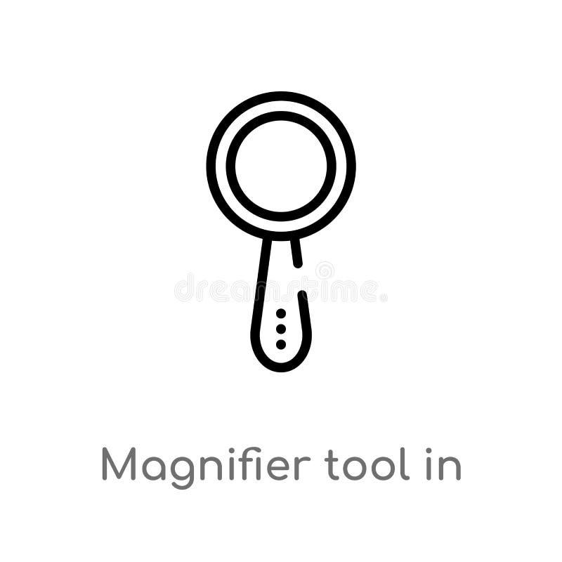 konturu magnifier narzędzie w pionowo pozycji interfejsu wektoru ikonie odosobniona czarna prosta kreskowego elementu ilustracja  royalty ilustracja