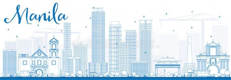 Konturu Manila linia horyzontu z Błękitnymi budynkami ilustracja wektor
