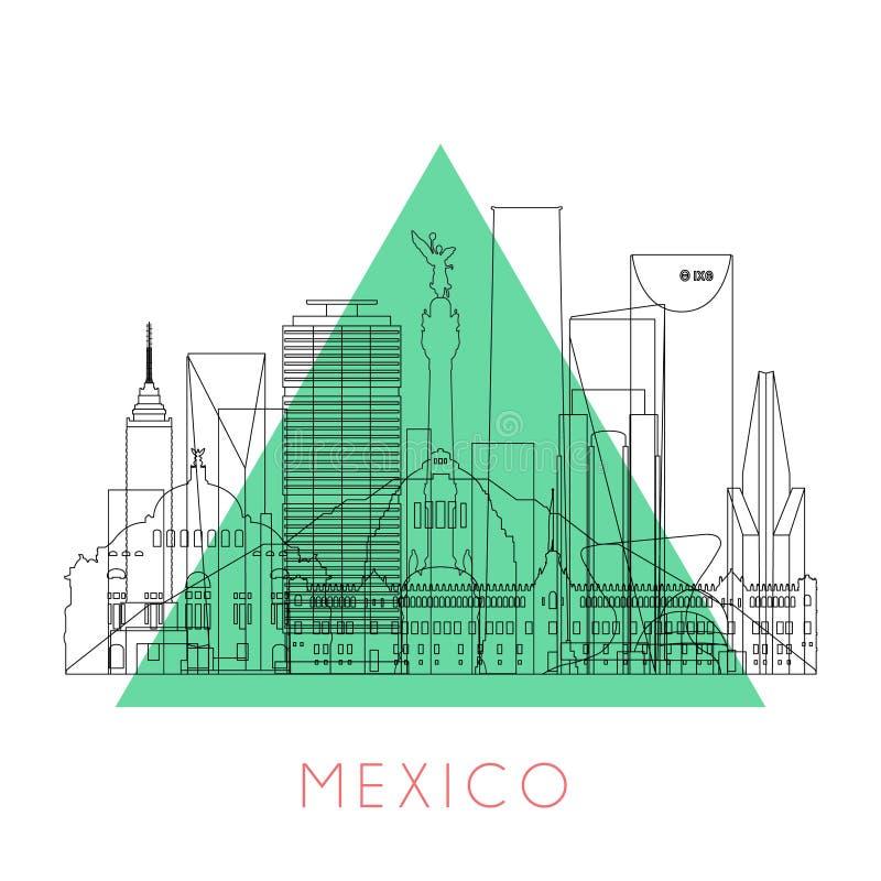 Konturu Meksyk linia horyzontu royalty ilustracja