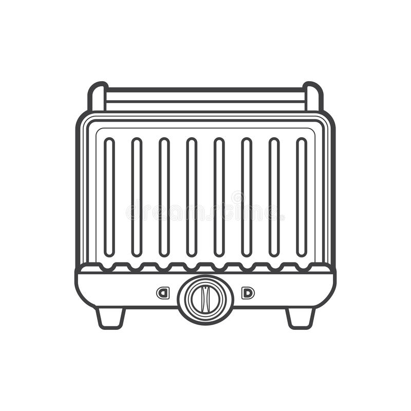 Konturu metalu grilla kuchenna elektryczna ilustracja ilustracja wektor