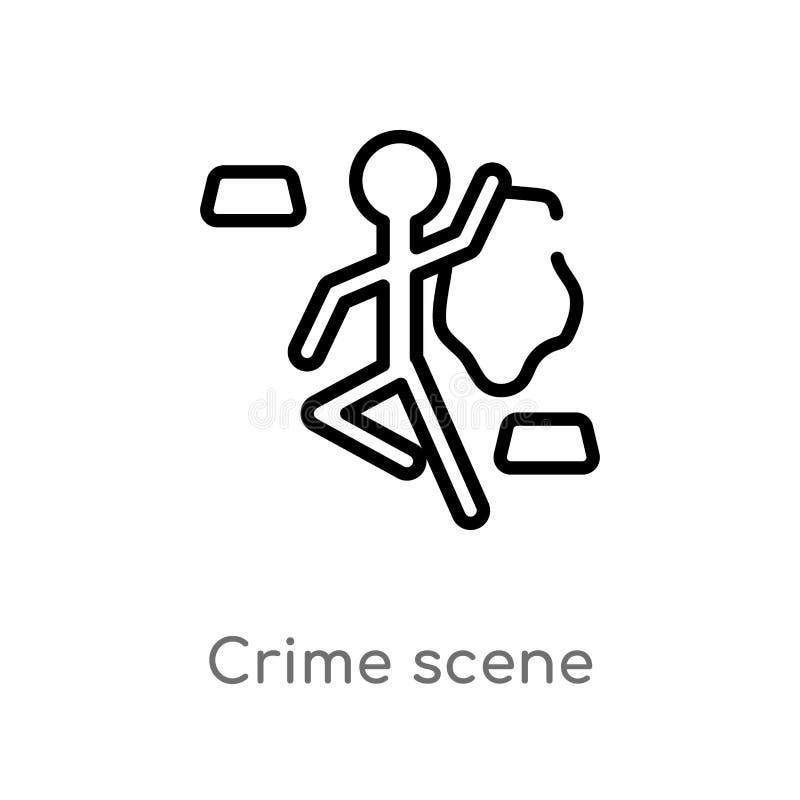 konturu miejsce przestępstwa wektoru ikona odosobniona czarna prosta kreskowego elementu ilustracja od prawa i sprawiedliwo?ci po ilustracja wektor