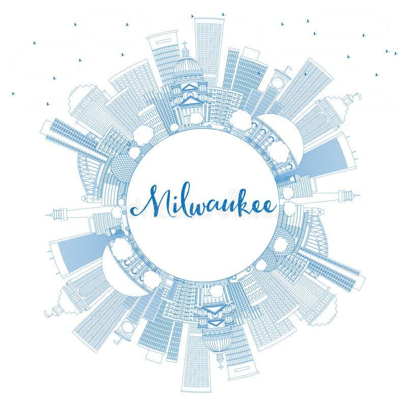 Konturu Milwaukee linia horyzontu z Błękitną kopii przestrzenią i budynkami ilustracji