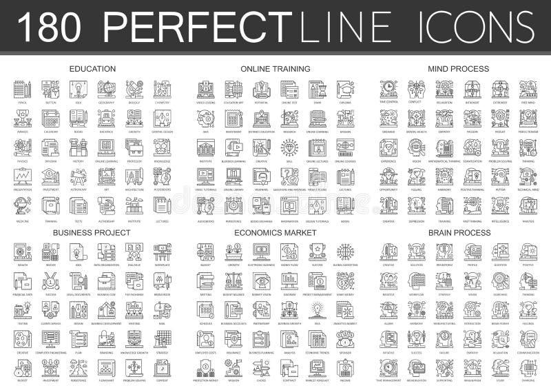 180 konturu mini pojęcia symbolu ikon infographic edukacja, online szkolenie, umysłu proces, biznesowy projekt, ekonomie ilustracja wektor