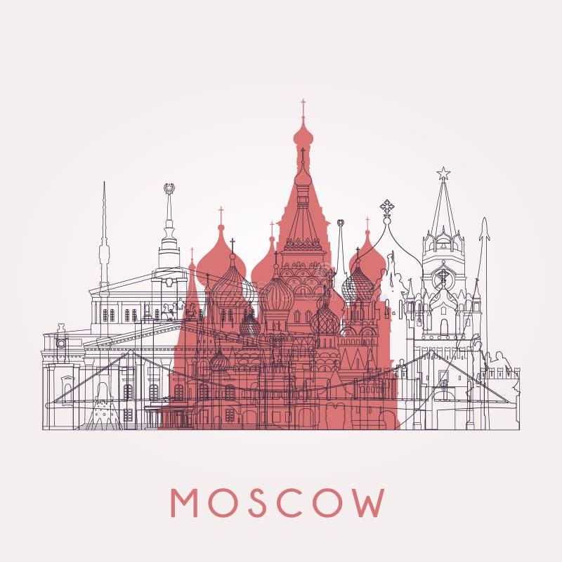 Konturu Moskwa linia horyzontu ilustracja wektor