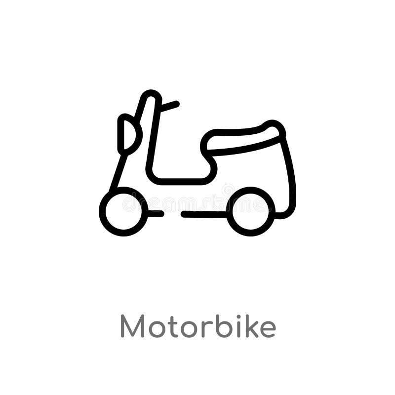 konturu motocyklu wektoru ikona odosobniona czarna prosta kreskowego elementu ilustracja od doręczeniowego i logistycznie pojęcia ilustracja wektor