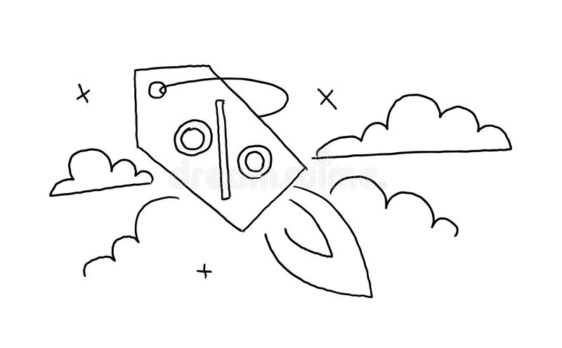 Konturu nakreślenie ręka szkicem Wszczyna dyskontowego etykietka lot w niebo rysunku Sprzedaż w sklepie Ręka rysujący czerń ilustracja wektor