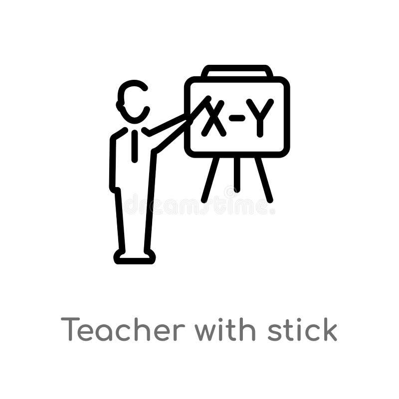 konturu nauczyciel z kija wektoru ikoną odosobniona czarna prosta kreskowego elementu ilustracja od edukacji pojęcia Editable wek ilustracji