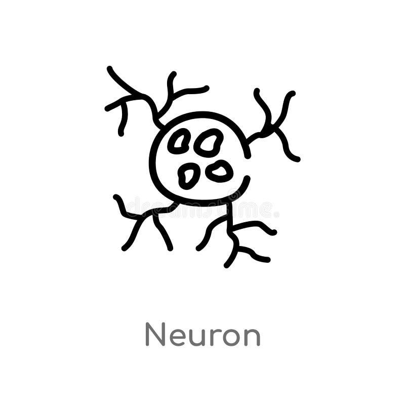konturu neuronu wektoru ikona odosobniona czarna prosta kreskowego elementu ilustracja od cia?o ludzkie cz??ci poj?cia Editable w ilustracji