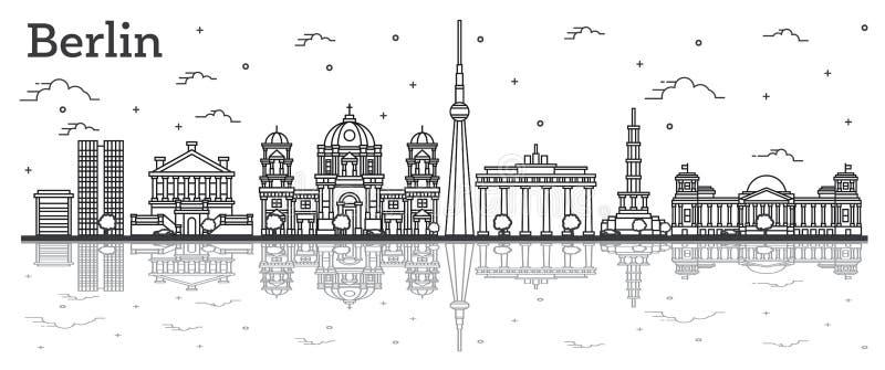 Konturu Niemcy miasta Berliński linia horyzontu z Dziejowymi budynkami i odbiciami Odizolowywającymi na bielu ilustracja wektor