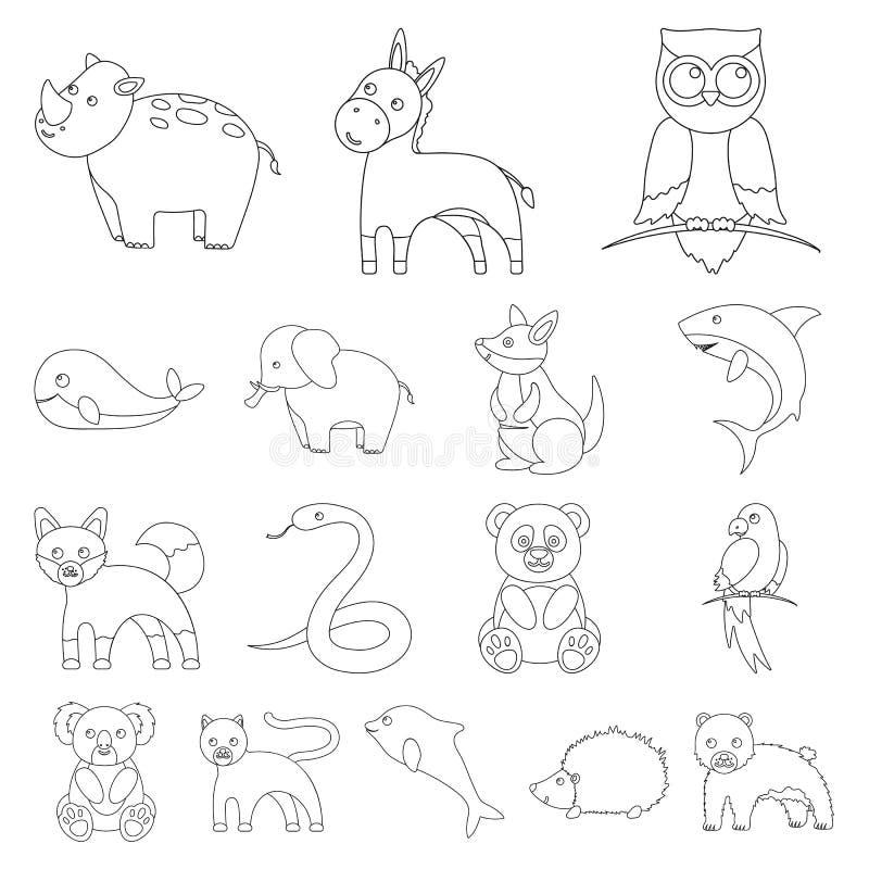 Konturu nierealistyczne zwierzęce ikony w ustalonej kolekci dla projekta Zabawkarskich zwierząt symbolu zapasu sieci wektorowa il royalty ilustracja
