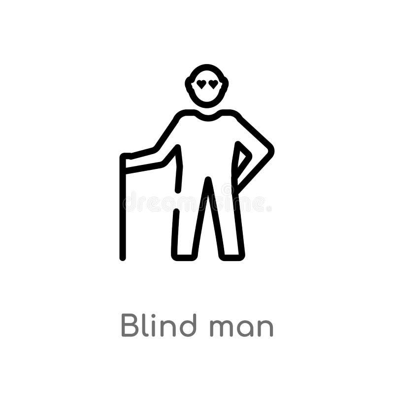 konturu niewidomego mężczyzny wektoru ikona odosobniona czarna prosta kreskowego elementu ilustracja od miłości i romansu pojęcia ilustracja wektor