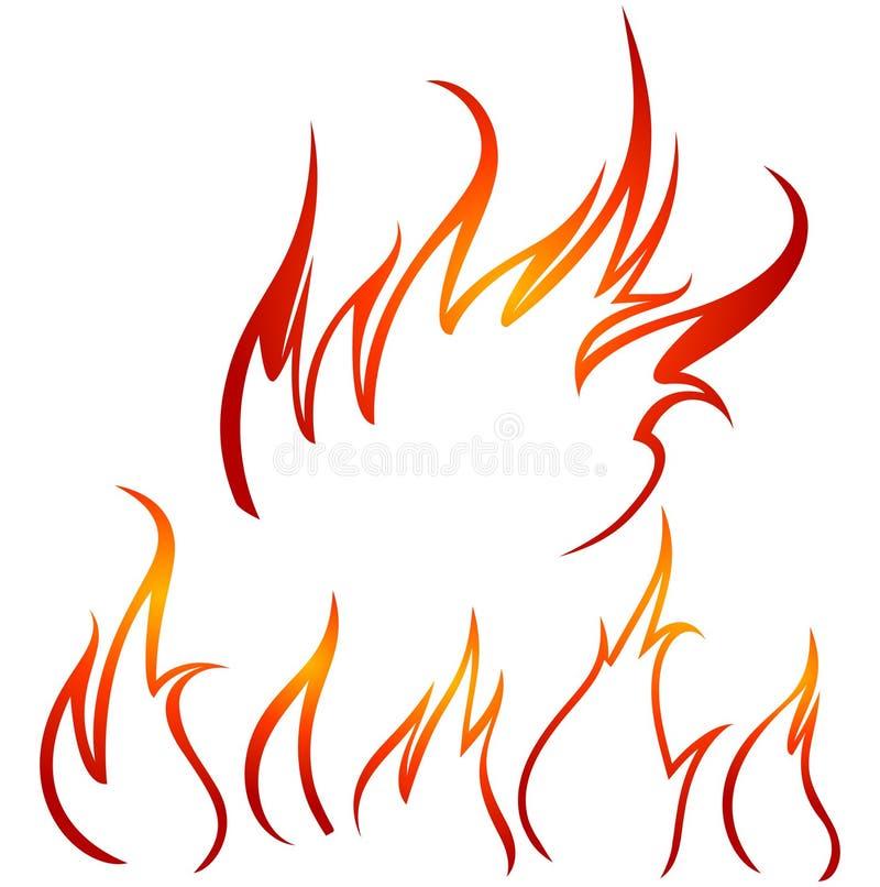 konturu ogień royalty ilustracja