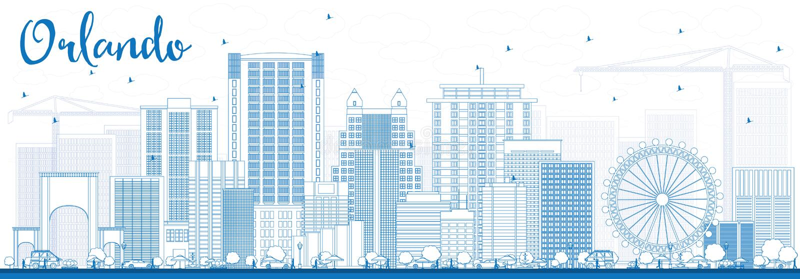Konturu Orlando linia horyzontu z Błękitnymi budynkami ilustracja wektor