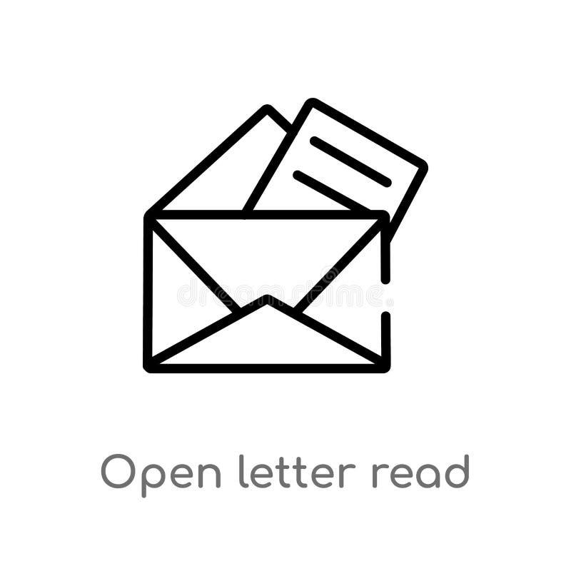 konturu otwarty list czyta emaila wektoru ikonę odosobniona czarna prosta kreskowego elementu ilustracja od interfejs użytkownika ilustracji