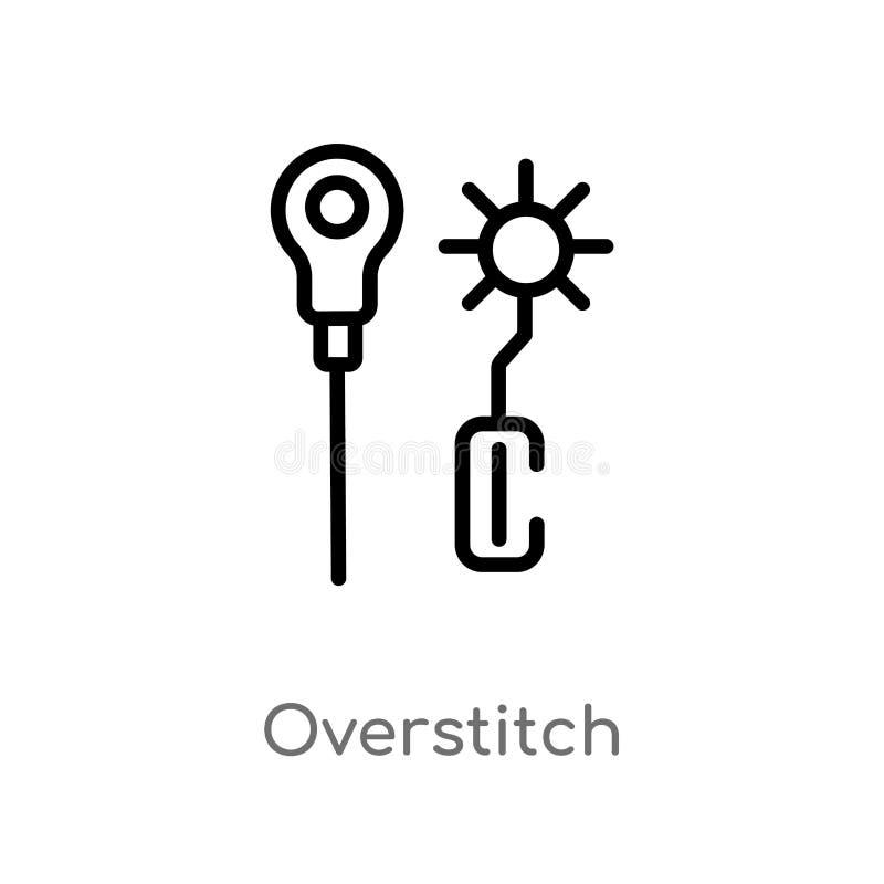 konturu overstitch wektoru ikona odosobniona czarna prosta kreskowego elementu ilustracja od szy poj?cie Editable wektorowy uderz ilustracji