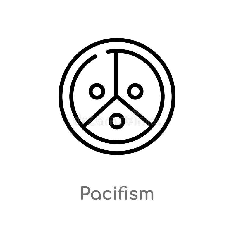 konturu pacyfizmu wektoru ikona odosobniona czarna prosta kreskowego elementu ilustracja od światowego pokoju pojęcia Editable we ilustracja wektor