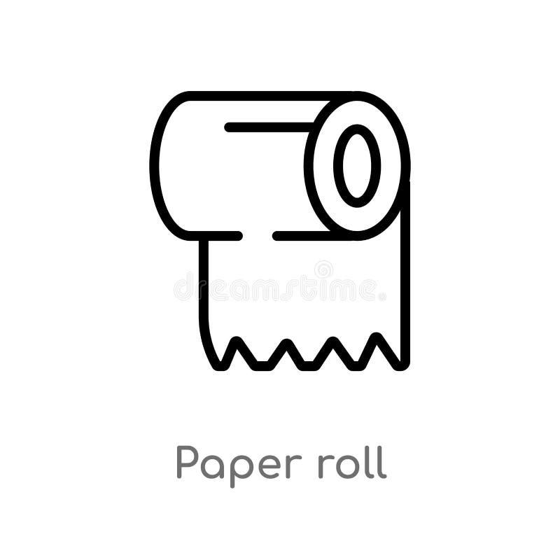 konturu papieru rolki wektoru ikona odosobniona czarna prosta kreskowego elementu ilustracja od czyści pojęcia Editable wektorowy ilustracja wektor