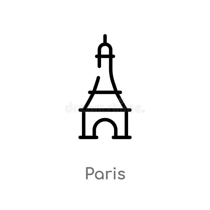 konturu Paris wektoru ikona odosobniona czarna prosta kreskowego elementu ilustracja od podr??y poj?cia editable wektorowa uderze royalty ilustracja