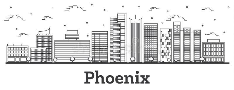 Konturu Phoenix Arizona miasta linia horyzontu z Nowożytnymi budynkami Odizolowywającymi na bielu ilustracji