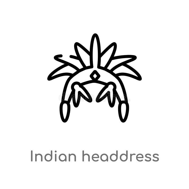 konturu pióropuszu wektoru indyjska ikona odosobniona czarna prosta kreskowego elementu ilustracja od kultury poj?cia Editable we ilustracji