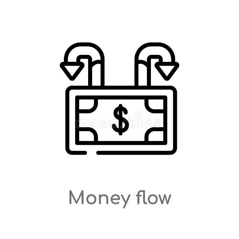 konturu pieniądze przepływu wektoru ikona odosobniona czarna prosta kreskowego elementu ilustracja od gospodarki i finanse pojęci royalty ilustracja
