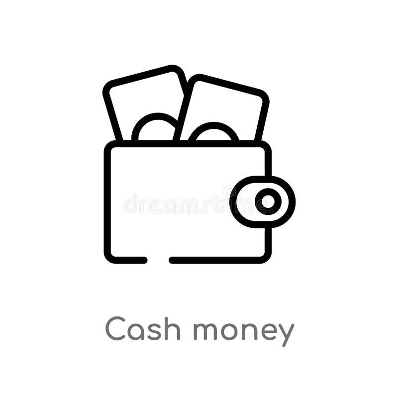 konturu pieniądze wektoru gotówkowa ikona odosobniona czarna prosta kreskowego elementu ilustracja od płatniczego metody pojęcia  royalty ilustracja