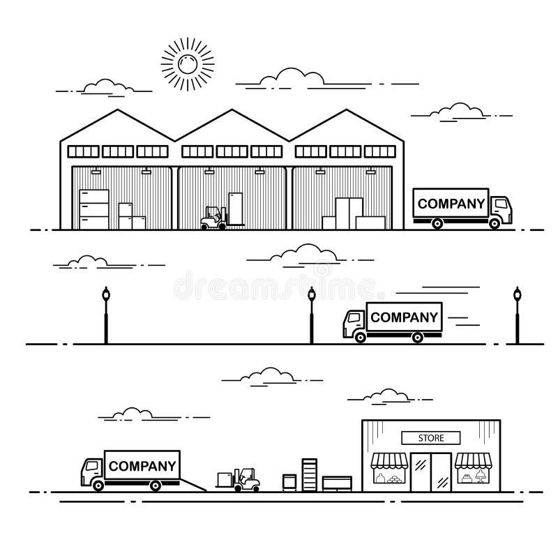 Konturu planu wyposażenia dostawy proces w sklepie Kreskowej sztuki wektorowa ilustracja odizolowywająca na białym tle royalty ilustracja