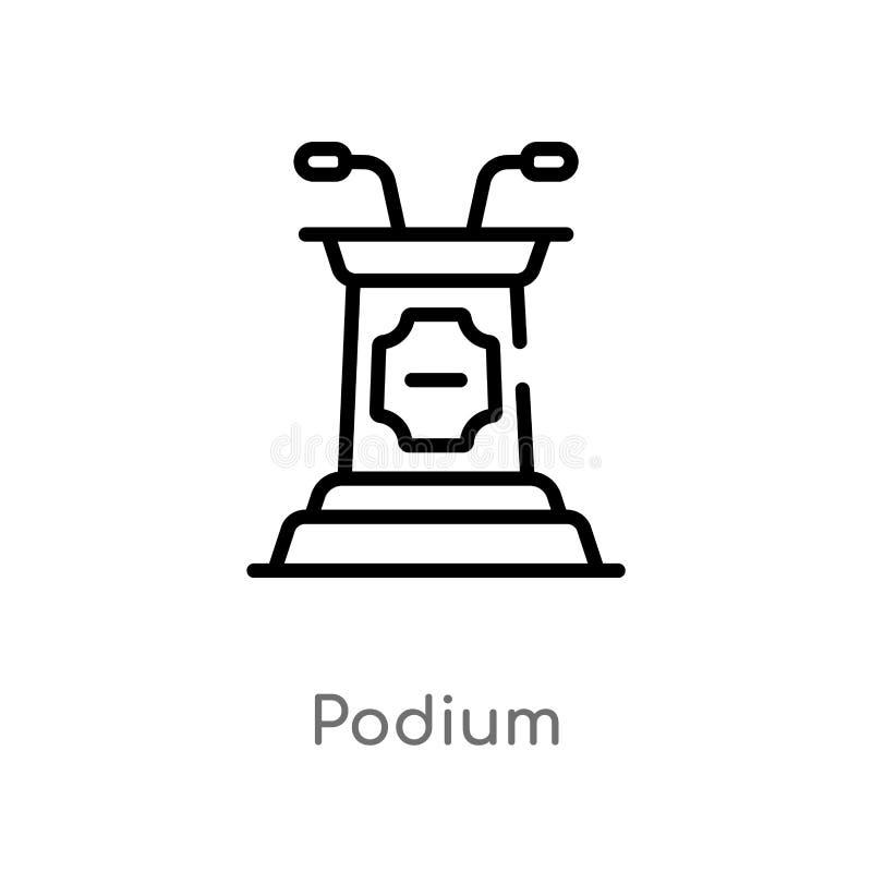 konturu podium wektoru ikona odosobniona czarna prosta kreskowego elementu ilustracja od edukacji poj?cia editable wektorowy uder royalty ilustracja