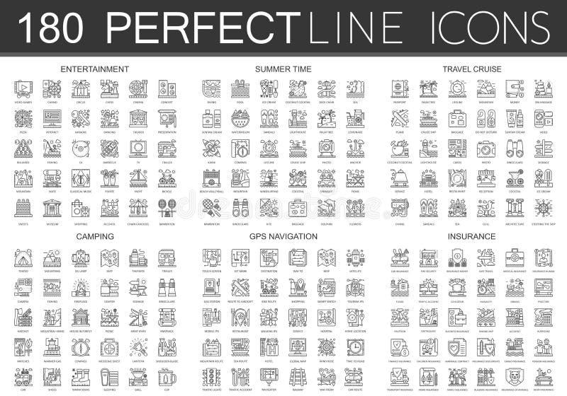 180 konturu pojęcia ikon mini symboli/lów rozrywka, lato czas, podróż rejs, camping, gps nawigacja, ubezpieczenie ilustracji