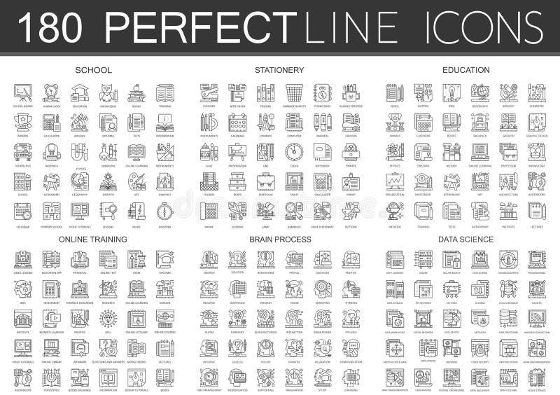180 konturu pojęcia ikon mini symboli/lów szkoła, materiały, edukacja, online szkolenie, móżdżkowy umysłu proces, dane royalty ilustracja