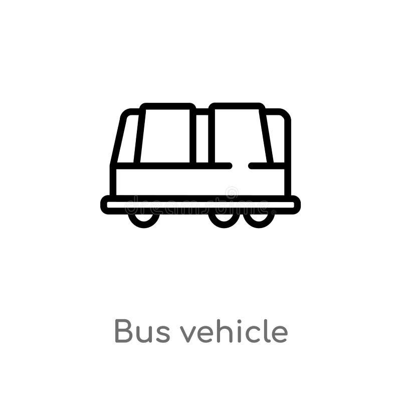 konturu pojazdu wektoru autobusowa ikona odosobniona czarna prosta kreskowego elementu ilustracja od przewiezionego poj?cia Edita ilustracji