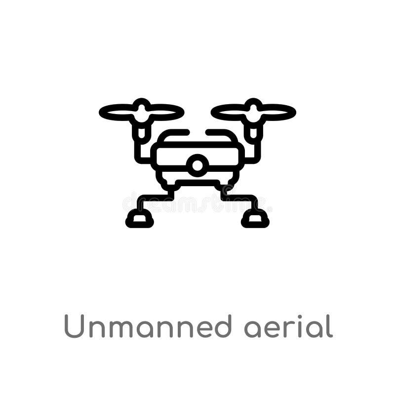 konturu pojazdu wektoru bezpilotowa powietrzna ikona odosobniona czarna prosta kreskowego elementu ilustracja od sztucznego intel royalty ilustracja
