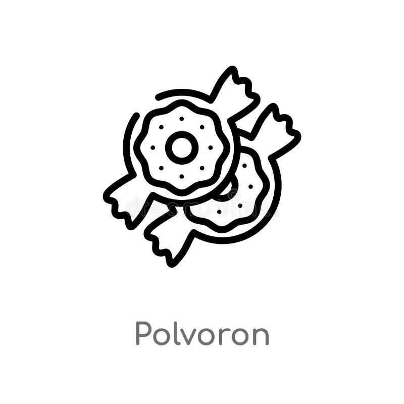 konturu polvoron wektoru ikona odosobniona czarna prosta kreskowego elementu ilustracja od karmowego poj?cia editable wektorowy u ilustracji