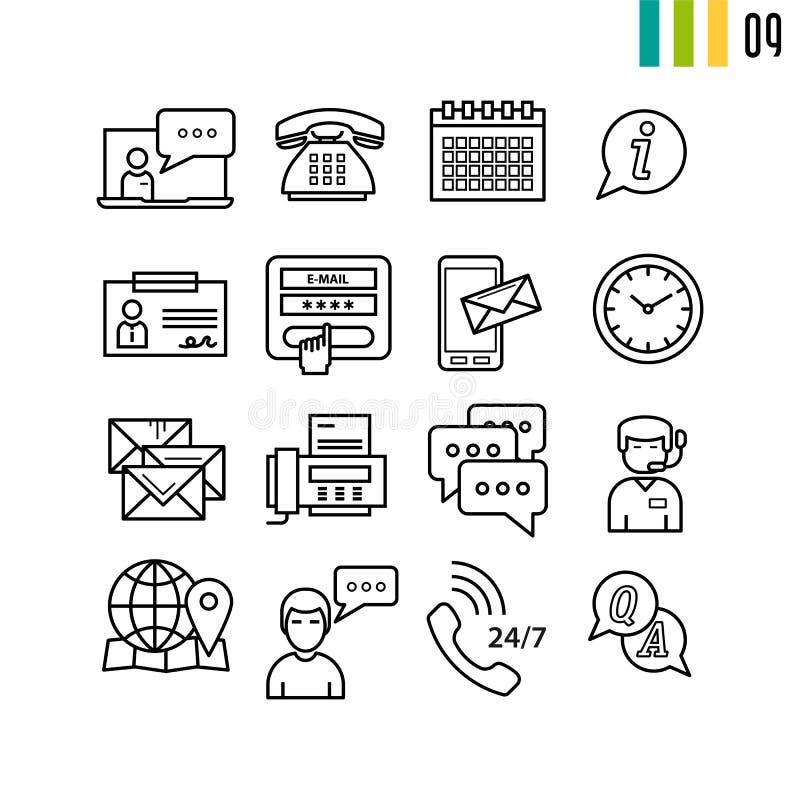 Konturu poparcia online ikony ilustracji