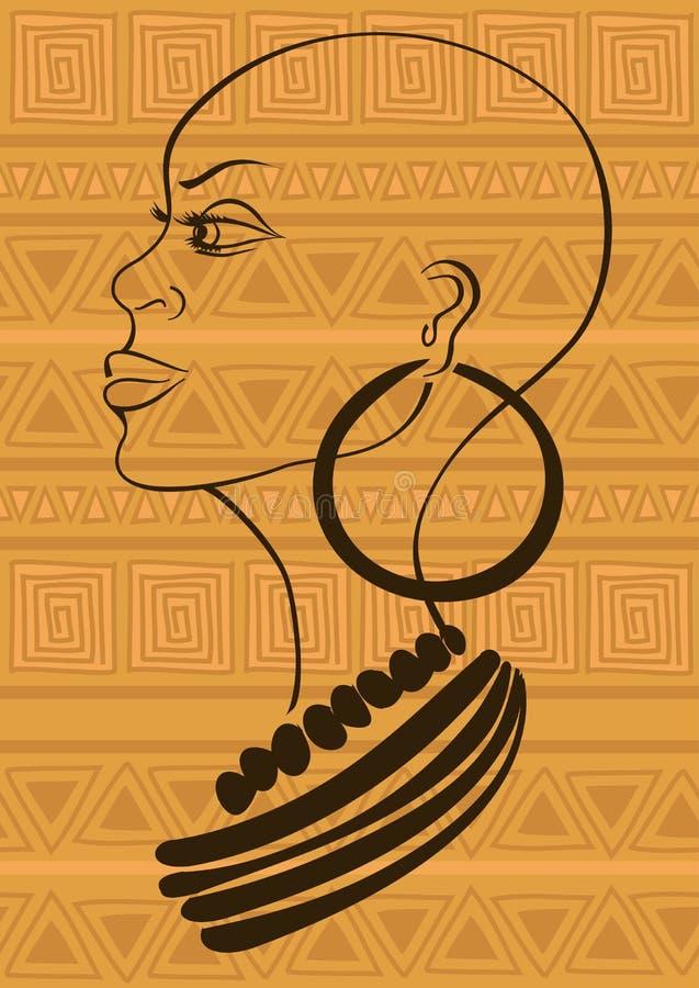 Konturu portret piękna Afrykańska plemienna dziewczyna ilustracja wektor
