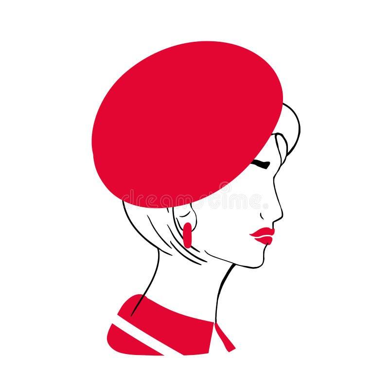 Konturu portret piękna elegancka młoda dama Nakreślenie rysunek modna kobieta z koczka ostrzyżeniem, czerwone wargi ilustracji