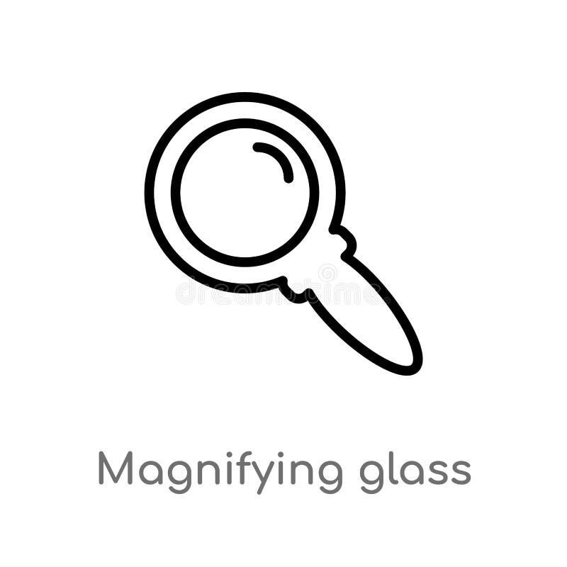 konturu powiększać - szklana rewizja guzika wektoru ikona odosobniona czarna prosta kreskowego elementu ilustracja od interfejs u ilustracji