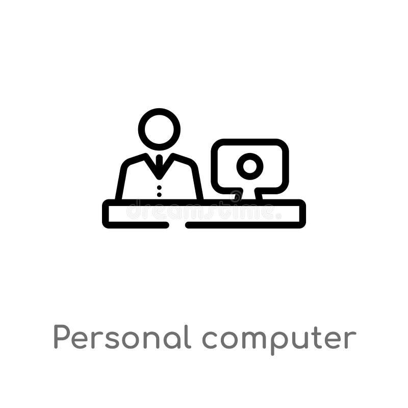konturu pracownika i komputeru osobistego wektoru ikona odosobniona czarna prosta kreskowego elementu ilustracja od komputerowego royalty ilustracja