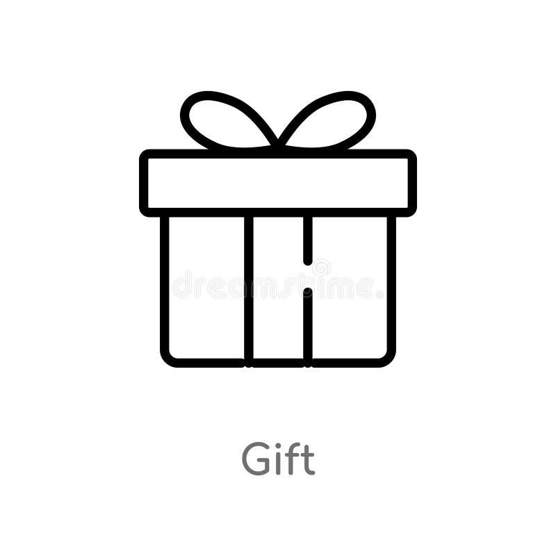 konturu prezenta wektoru ikona odosobniona czarna prosta kreskowego elementu ilustracja od doręczeniowego i logistycznie pojęcia  ilustracji