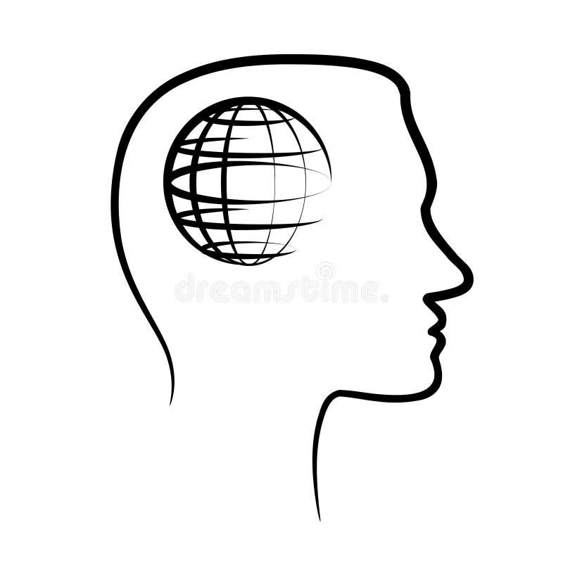 Konturu projekta ikona z ludzką głową, mózg i kula ziemska, planetujemy abs royalty ilustracja