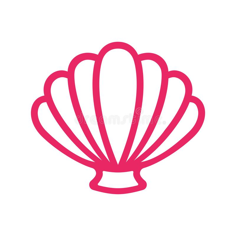 Konturu przegrzebka denna skorupa milczek koncha Seashell - płaski wektor ilustracja wektor