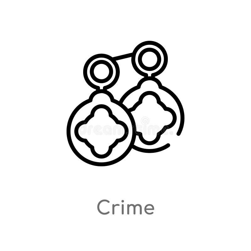 konturu przestępstwa wektoru ikona odosobniona czarna prosta kreskowego elementu ilustracja od cyber pojęcia editable wektorowa u ilustracja wektor