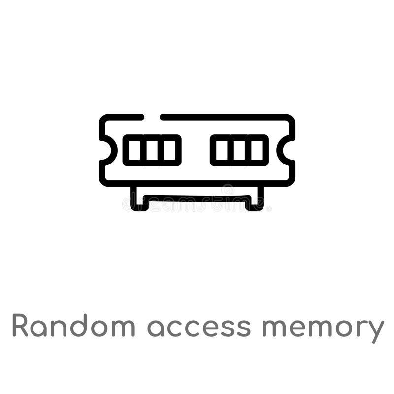 konturu przypadkowego dostępu kości pamięci wektoru ikona odosobniona czarna prosta kreskowego elementu ilustracja od komputerowe ilustracji