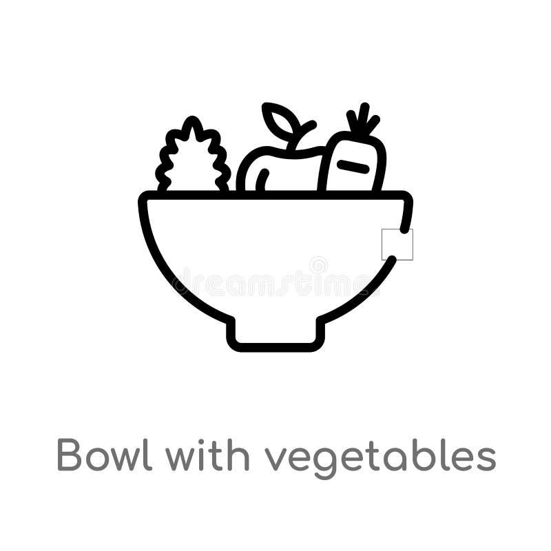 konturu puchar z warzywo wektoru ikon? odosobniona czarna prosta kreskowego elementu ilustracja od karmowego poj?cia Editable wek royalty ilustracja