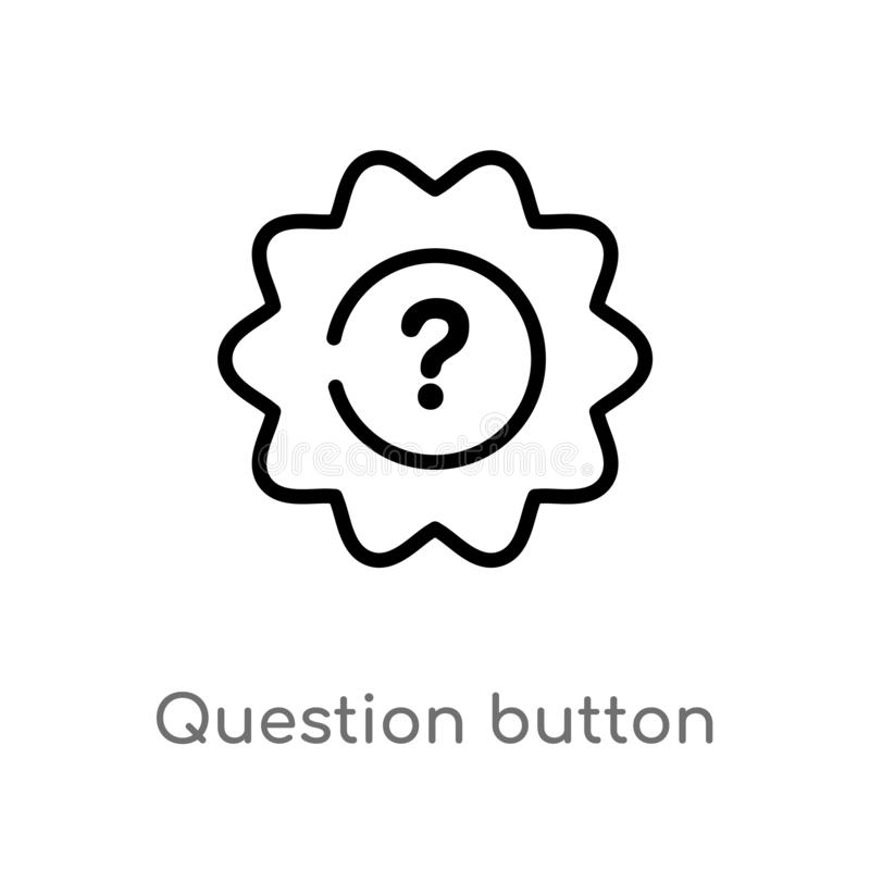 konturu pytania guzika wektoru ikona odosobniona czarna prosta kreskowego elementu ilustracja od interfejs u?ytkownika poj?cia Ed ilustracja wektor