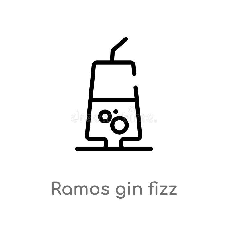konturu Ramos dżinu fizz wektoru ikona odosobniona czarna prosta kreskowego elementu ilustracja od napoju pojęcia Editable wektor ilustracja wektor